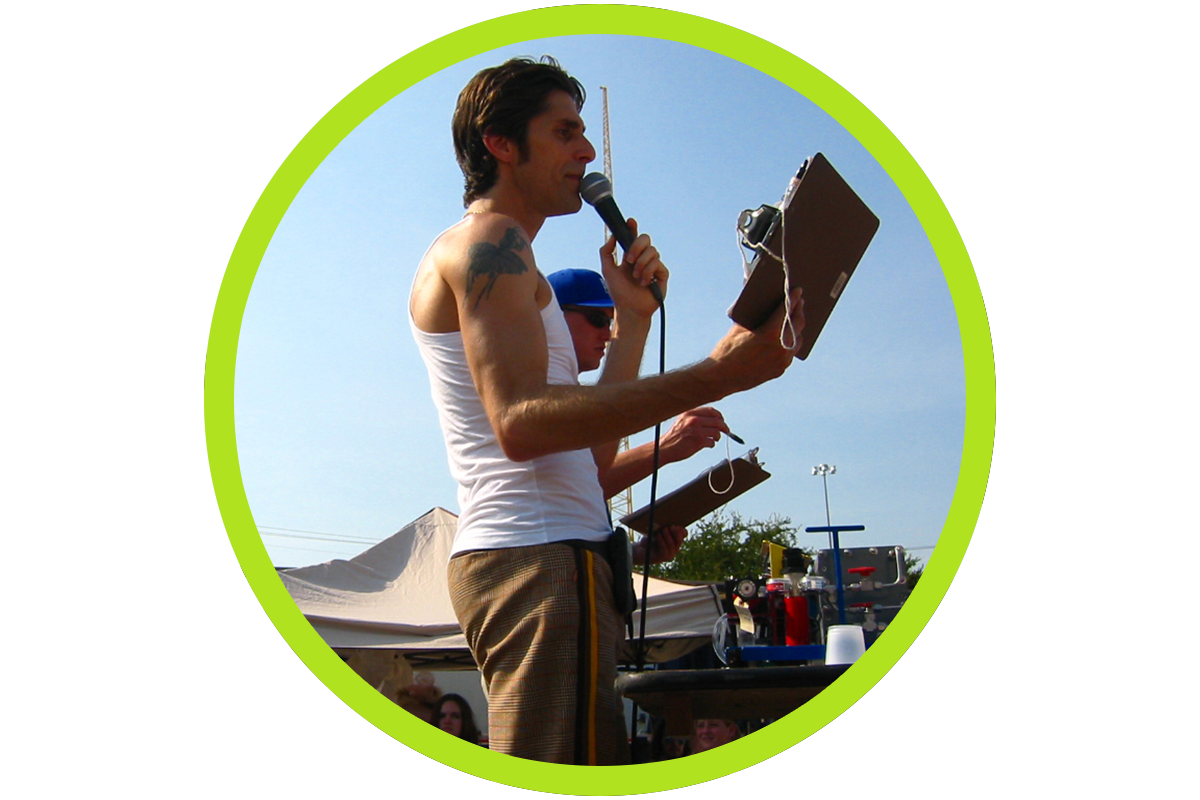 Perry Farrell speaking about renewable resources at Lollapalooza music festival