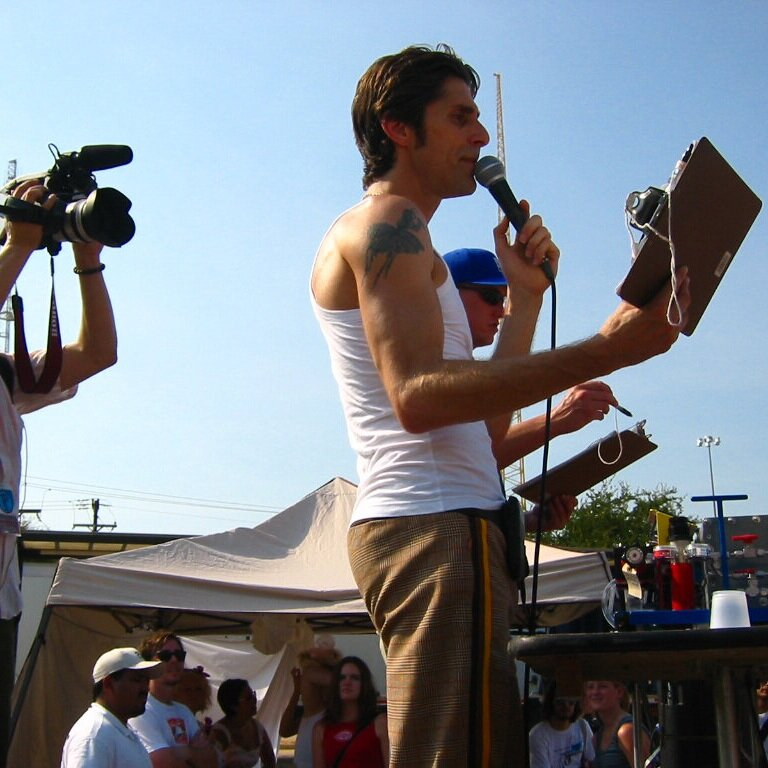Perry Farrell speaking at Lollapalooza festival