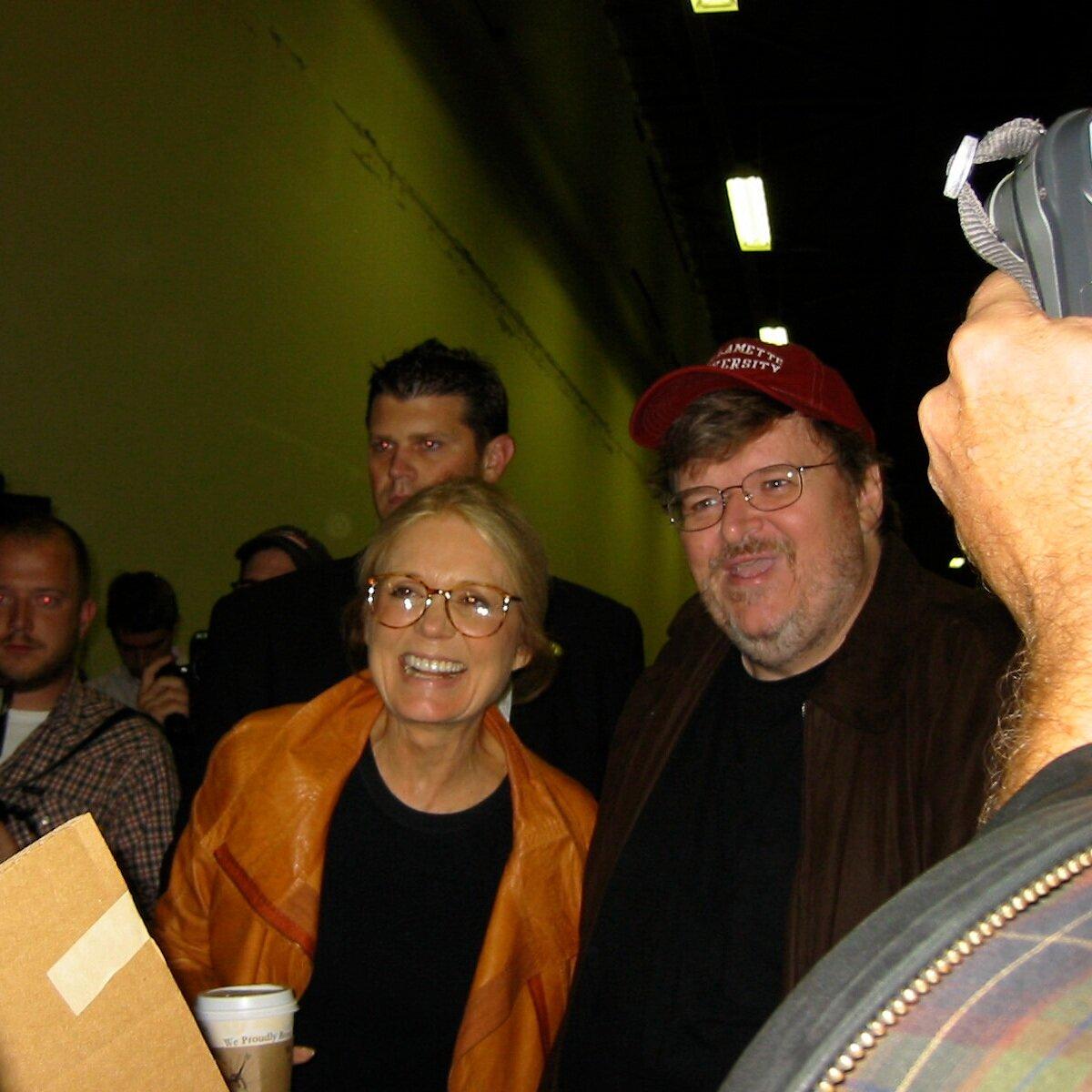 Gloria Steinem with Michael Moore