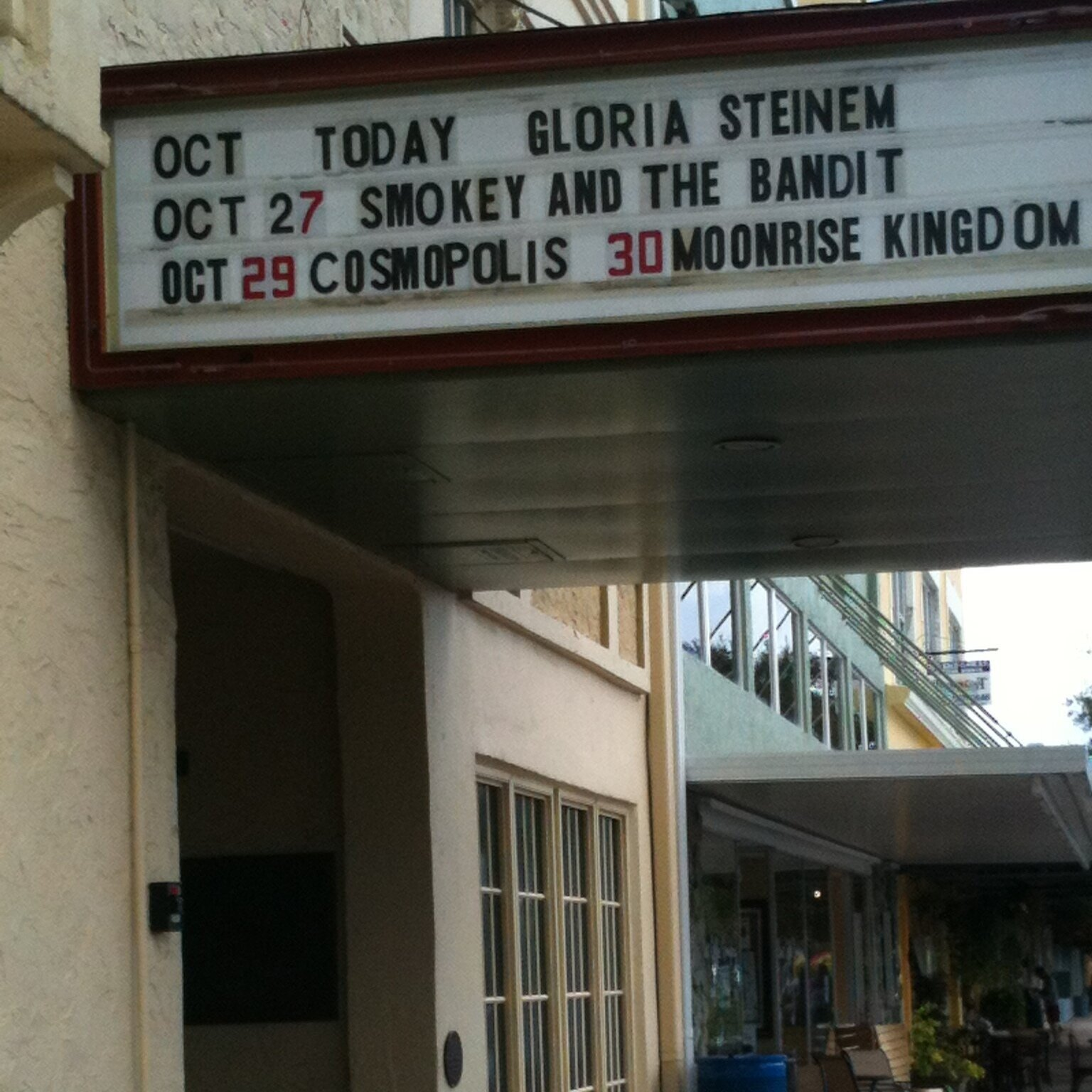 Gloria Steinem's name on theater awning