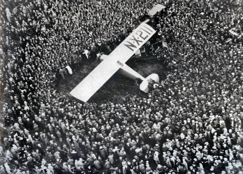 Le Bourget Airfield near Paris, France, May 21, 1927 - Charles A. Lindbergh set the Spirit of Saint Louis down in a French airfield just outside of Paris after the grueling thirty-three and a half hour flight across the Atlantic Ocean.