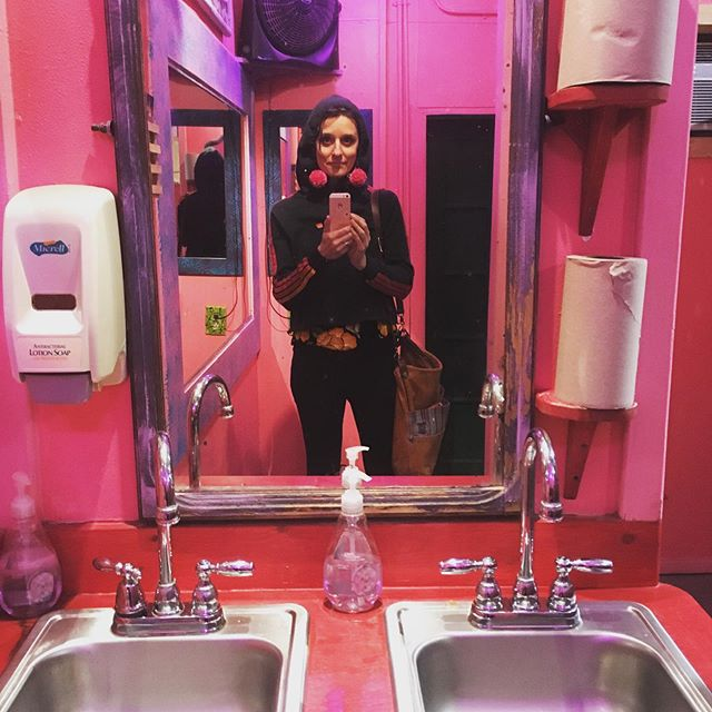 The prettiest pinkest bathroom I've ever been in. #esthersfollies #sxsw2019