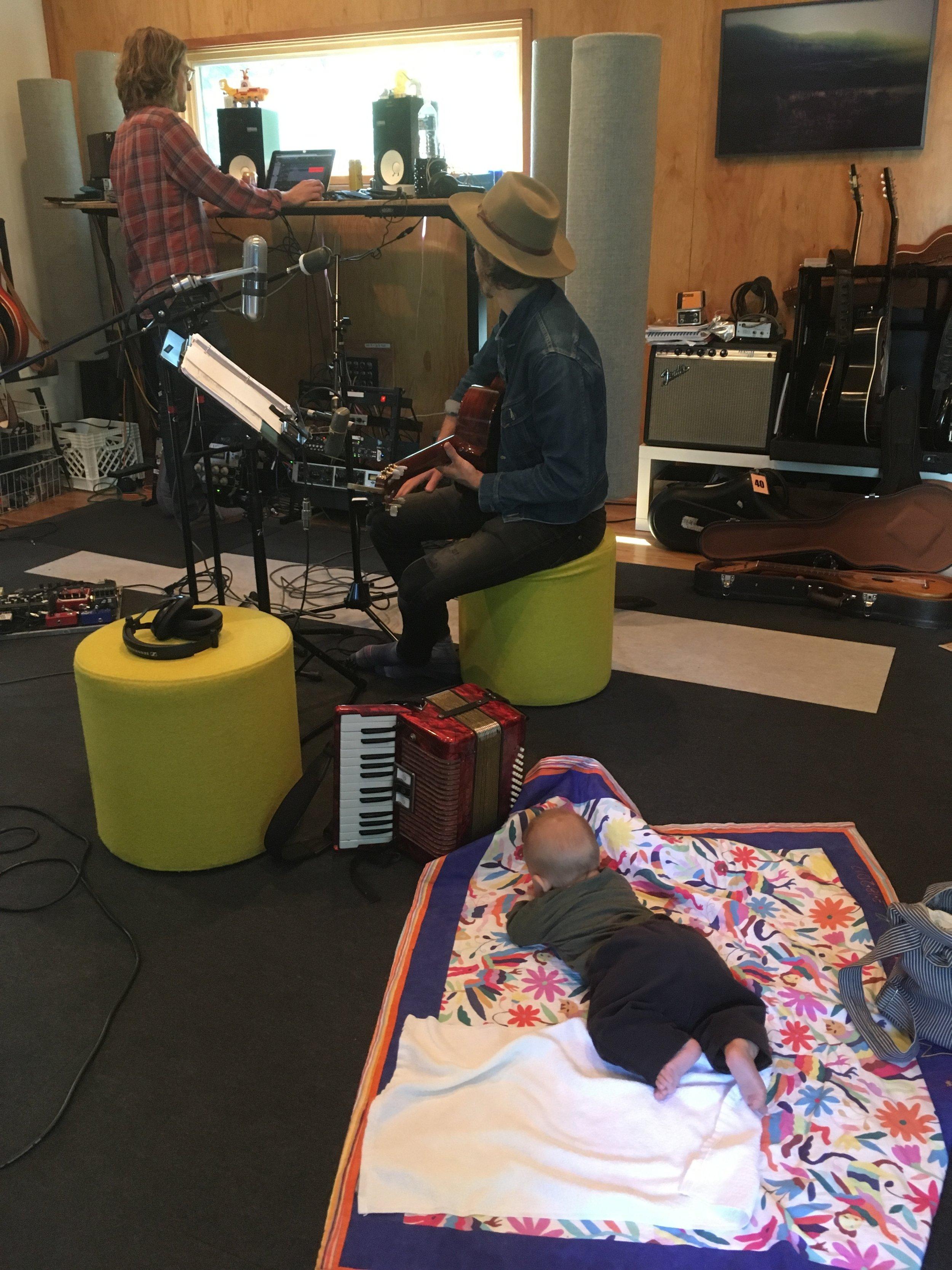 Baby Moses on the studio floor