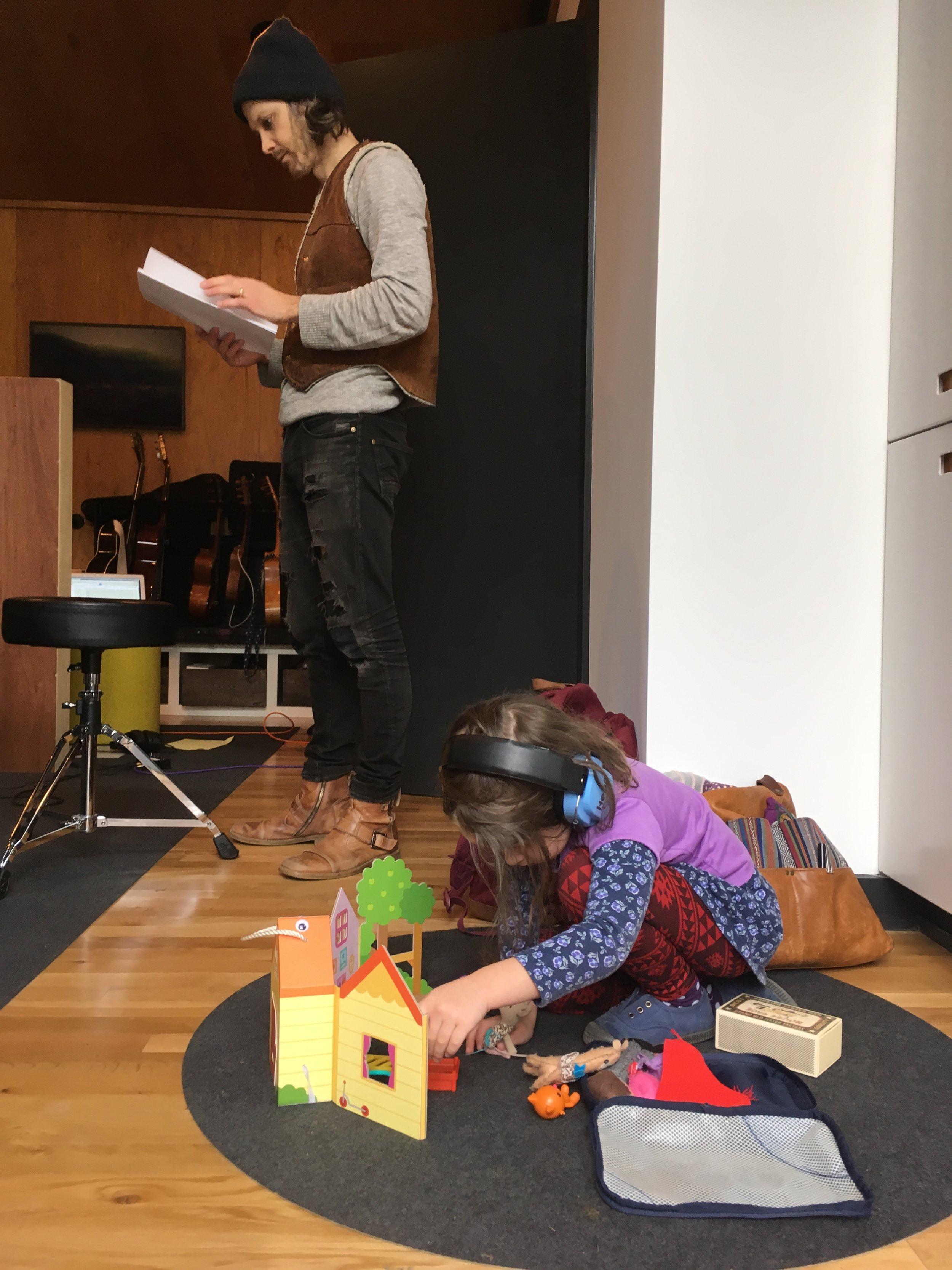 Calliope's toys on the studio floor