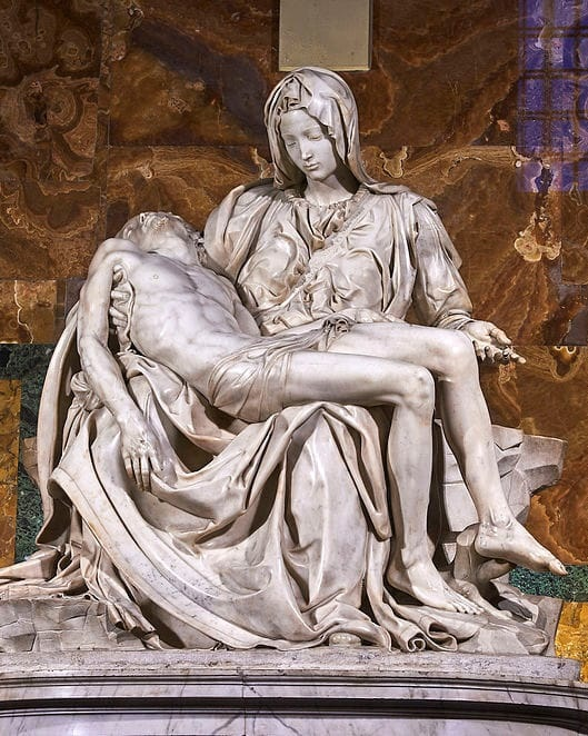 """10. Michelangelo's Pieta (St. Peter's Basilica, Vatican City) - This is Michelangelo's first true masterpiece, carved when the sculptor was not yet 25 years old. Notice that Mary looks younger than her Son–Michelangelo said chastity kept a woman from aging. Also check out the artist's signature carved into the strap across the Madonna's breast: """"Michelangelo Buonarroti, Florentine, made this."""""""
