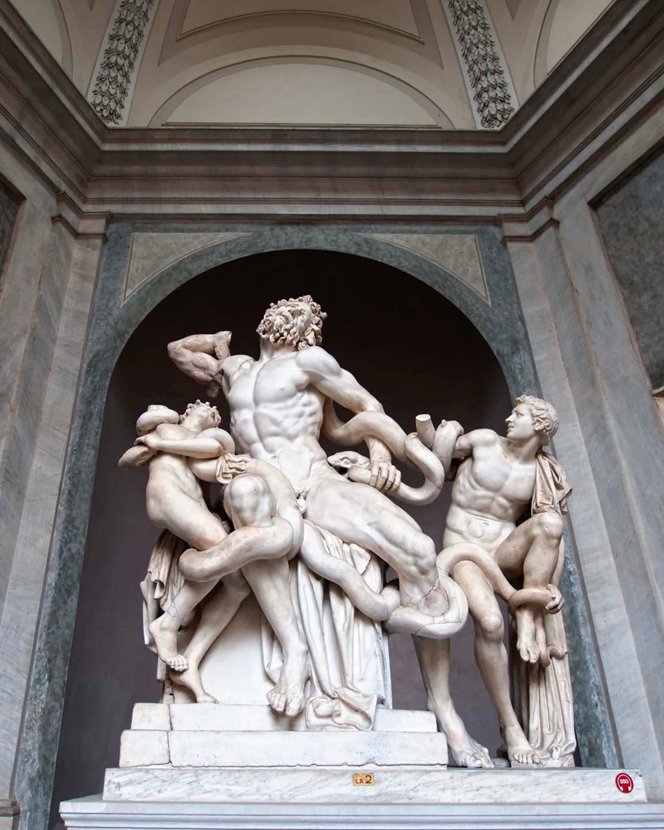 9. Laocoön Group (Vatican Museum, Vatican City) - When Laocoön, a priest in the Trojan War, tried to warn his fellow citizens not to accept the gift of the Trojan horse, the gods sent two sea-serpents to kill Laocoön and his sons. We do not know whether this marble masterpiece is an original Greek statue or a copy made by the Romans (the Vatican places it between 30-40 BCE), but either way it is one of the best-preserved and most dramatic ancient statues in existence.