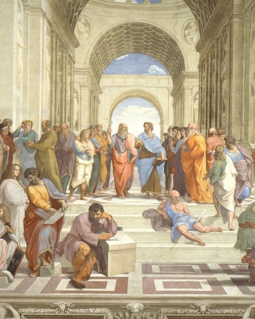 """7. School of Athens by Raphael (""""Raphael Rooms"""" in Vatican Museum, Vatican City) - This famous fresco depicts Raphael's contemporaries as a crowd of ancient philosophers. The central bearded figure wearing a pink tunic is Leonardo da Vinci as Plato. Sitting on the stairs–dark hair, beard, purple tunic, work boots–is Michelangelo as Heraclitus. And on the right, looking directly out at us from the crowd (the young man in the black hat), is Raphael himself."""