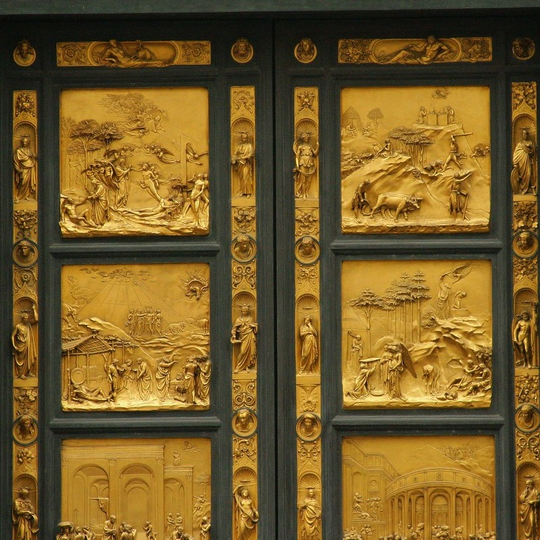 """4. East Doors by Ghiberti (Baptistery of St. John, Florence) - Michelangelo thought these doors were so beautiful they were fit to stand as the """"Gates of Paradise."""" Legendary sculptor Lorenzo Ghiberti and his shop took 27 years to complete these 10 bronze panels depicting scenes from the Old Testament. See a copy outside on the Baptistery and the original panels at the Museo dell'Opera del Duomo."""
