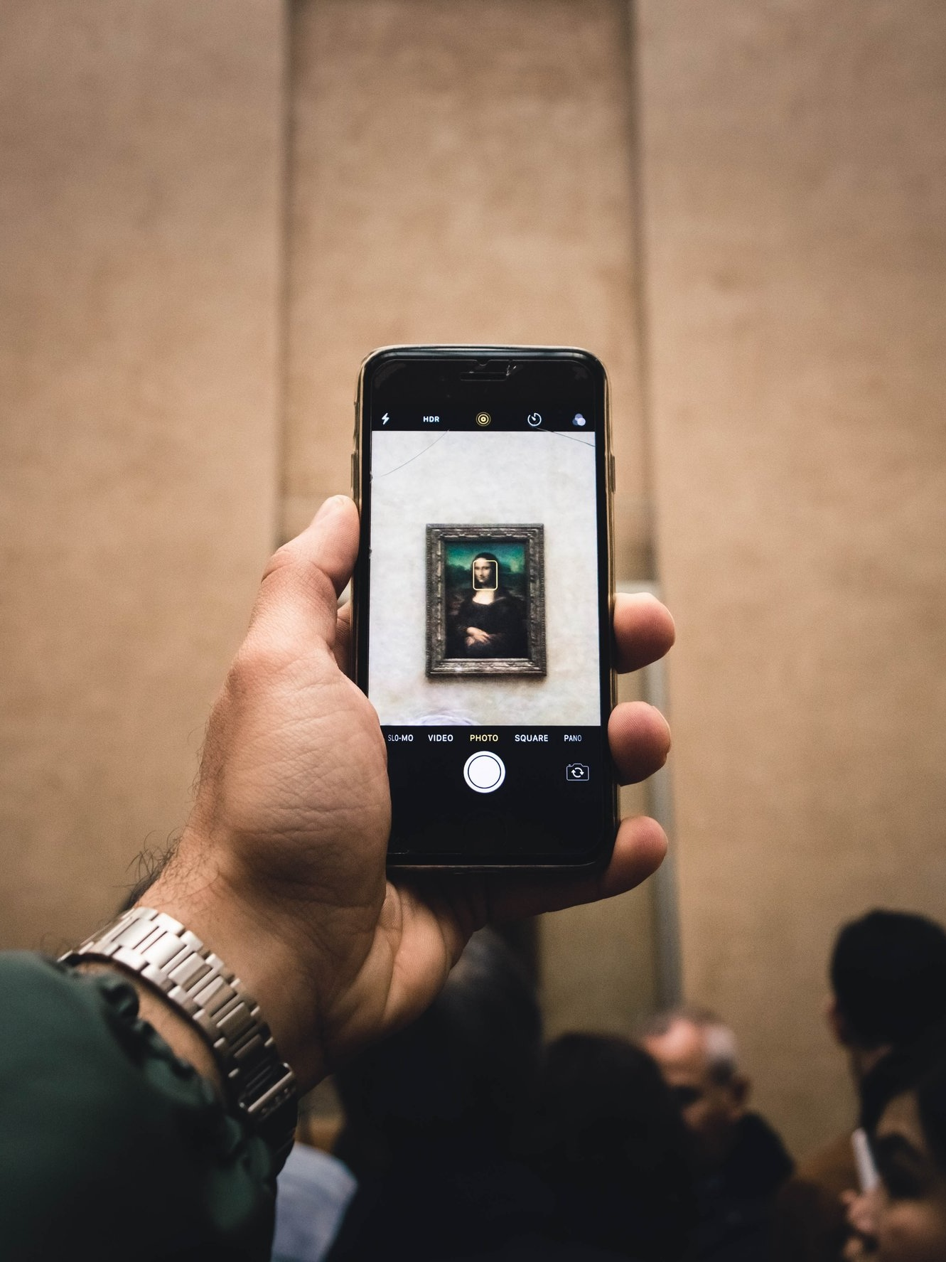 - HORDES of people cram into that room to take pictures. Many look only at their camera, phone or iPad screens and never actually look at the painting itself. It is loud, chaotic, and stinks with the sweat of thousands of foreign tourists.