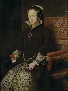"""Queen Mary I of England - When her half-brother Edward disinherited her before he died, Mary did not slink away – she formed an army, deposed Jane Grey, and marched triumphantly into London to become the first Queen to rule England in her own right. Then, she restored Catholicism in England (her father, King Henry VIII had left the Church to divorce Mary's Catholic mother, Katherine of Aragon) and then had hundreds of Protestants burned at the stake – giving her the nickname """"Bloody Mary."""""""