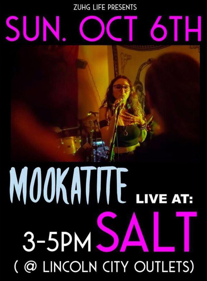 Live Music From Mookatite - Sunday, October 6th 2019 | 3PM - 5PMEnjoy your first Sunday evening of October with live original music from Mookatite, at Salt. Join us for craft cocktails, local beer & wine, and great food made to order.