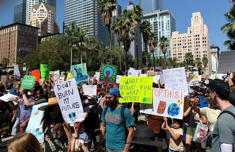 Now we march - and there are a LOT of us. Heading south away from Pershing Square.
