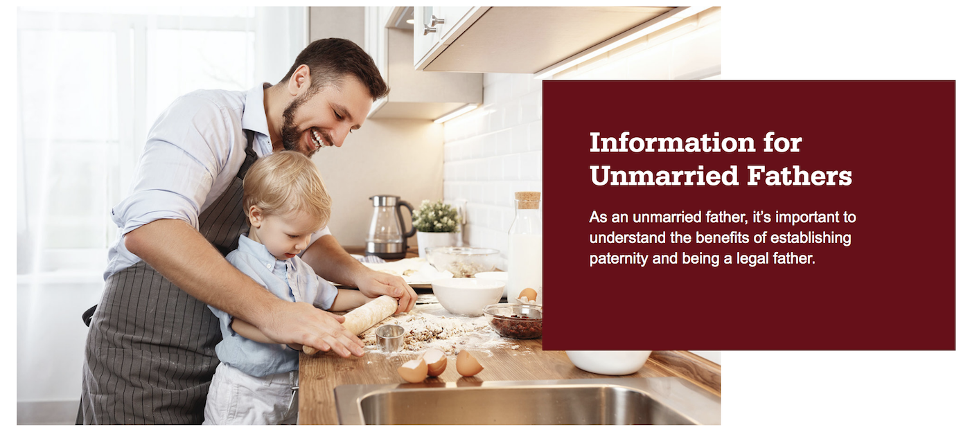 Father and son baking. Information for unmarried fathers. As an unmarried father, it's important to understand the benefits of establishing paternity and being a legal father.