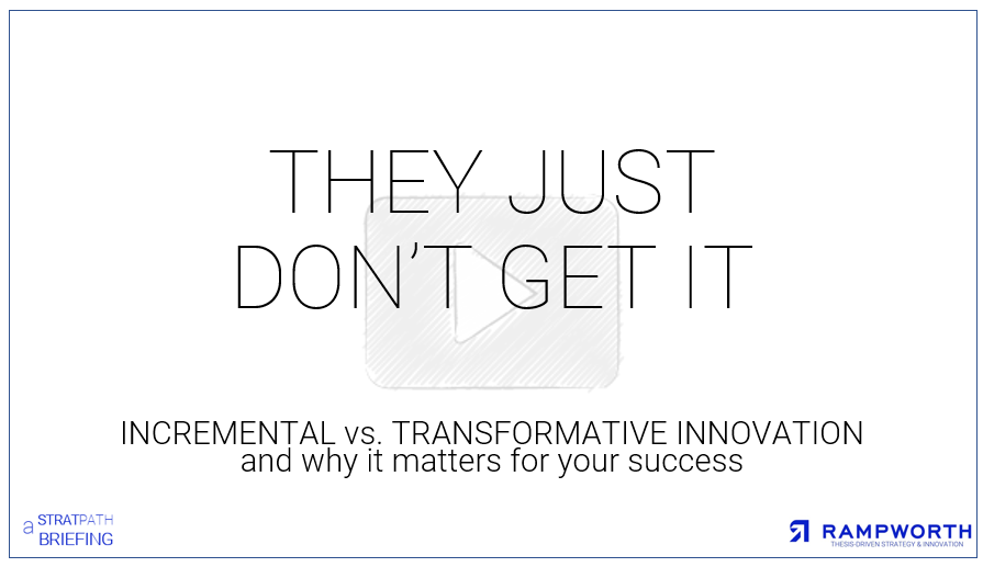- Incremental vs. TransformativeEver found yourself saying 'they just don't get it? If yes, then this briefing is for you. Here we re-examine incremental vs. transformative innovation through the lens of the adopters (rather than the innovators themselves). WHY? Because, when viewed through this lens, it becomes obvious how to accelerate adoption and attract the talent and capital that you need to execute on your grand vision.