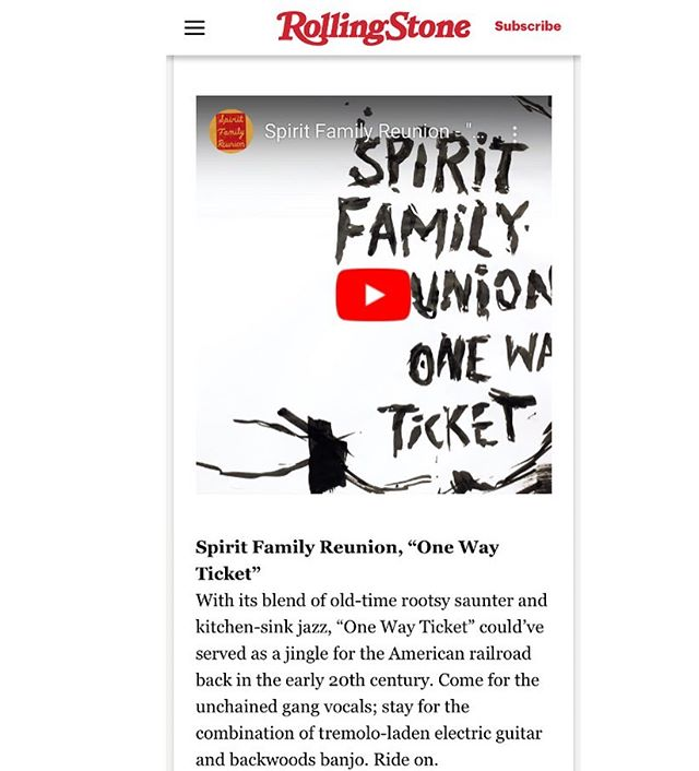 "@rscountry has the video for our song ""One Way Ticket"" in their list of ten best something something's. If you haven't seen it yet check it out. Lyric video drawn and animated by @rakel.stammer. New album Ride Free out now  #spiritfamilyreunion #rollingstone #rollingstonecountry"