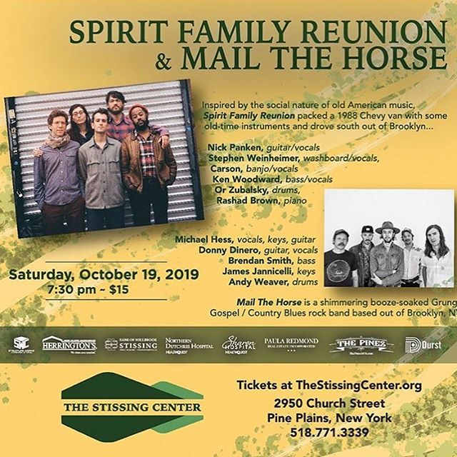 """Looking forward to Saturday when we play Pine Plains NY newly renovated historic venue @thestissingcenter with pals @mailthehorse. Thanks to @supertonefest for throwing this together. """"Tickets are selling fast"""" they say - only 15 bucks! thestissingcenter.org"""