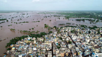 Flooding in the city of Jamkhandi in southwestern India in August. STR/AFP/GETTY IMAGES