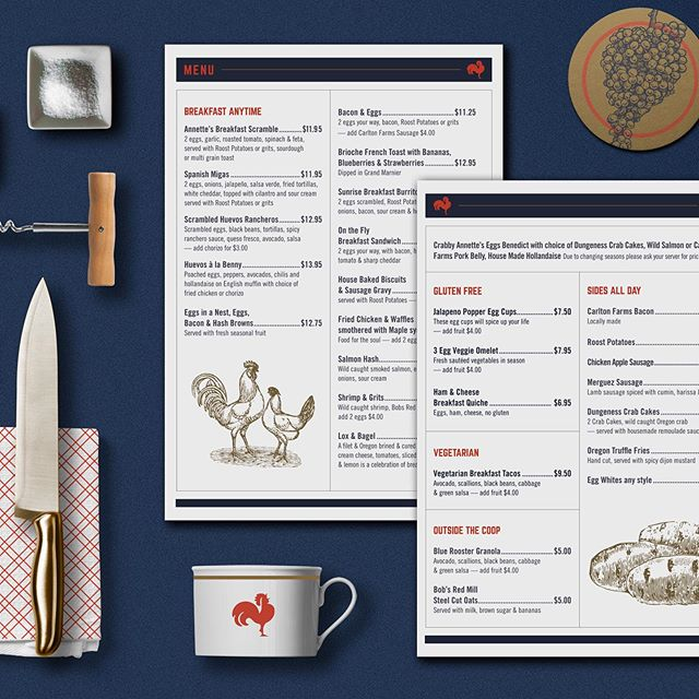 Menu design for The Roost, a proposed restaurant concept at the Portland International Airport
