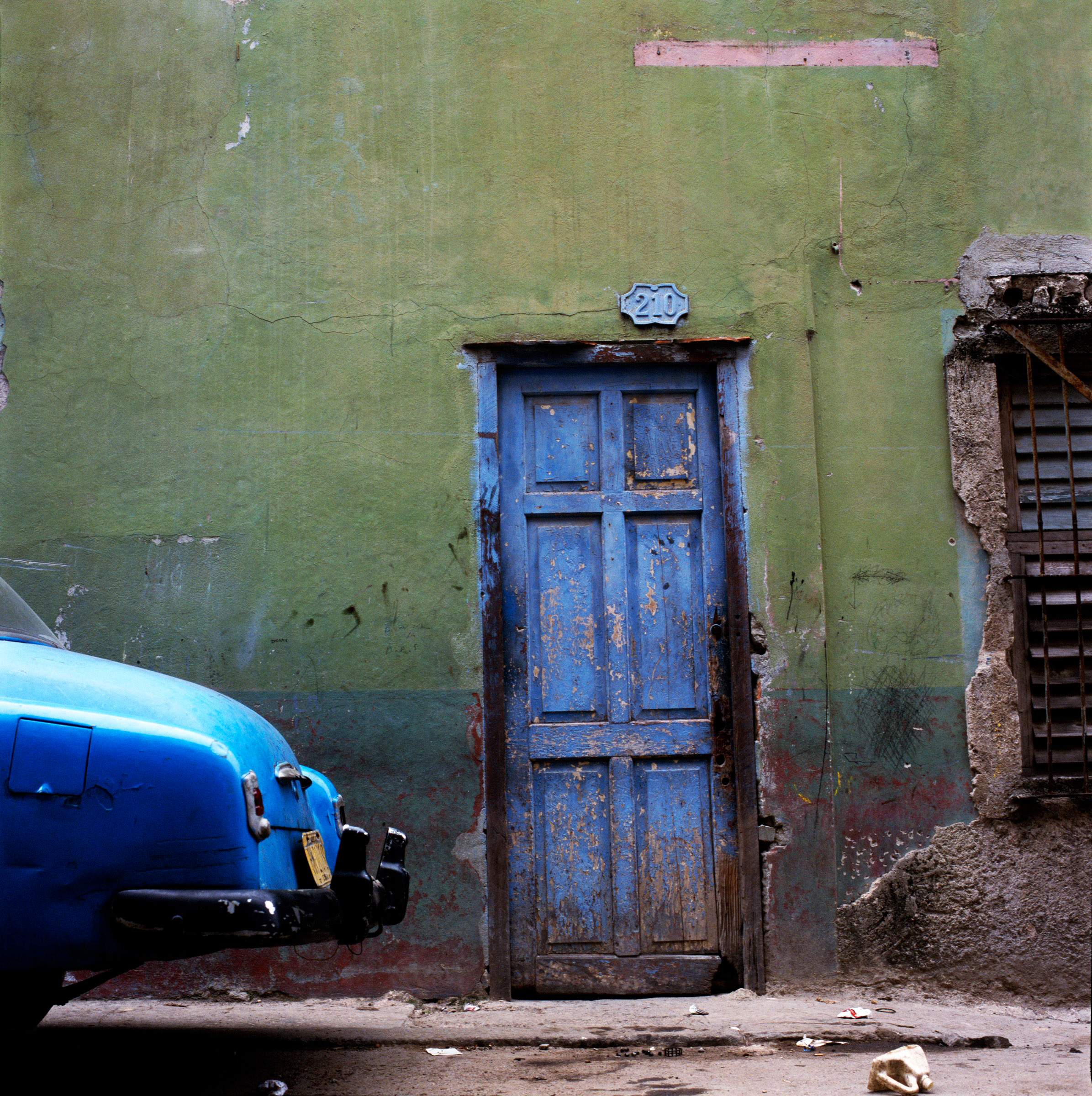 Blue Car and Wall, by Meghan Sisko