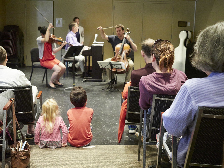 Family Concert, with Jennifer Frautschi, John Novacek, Edward Arron (2017). Photo by Peter Felsenthal.