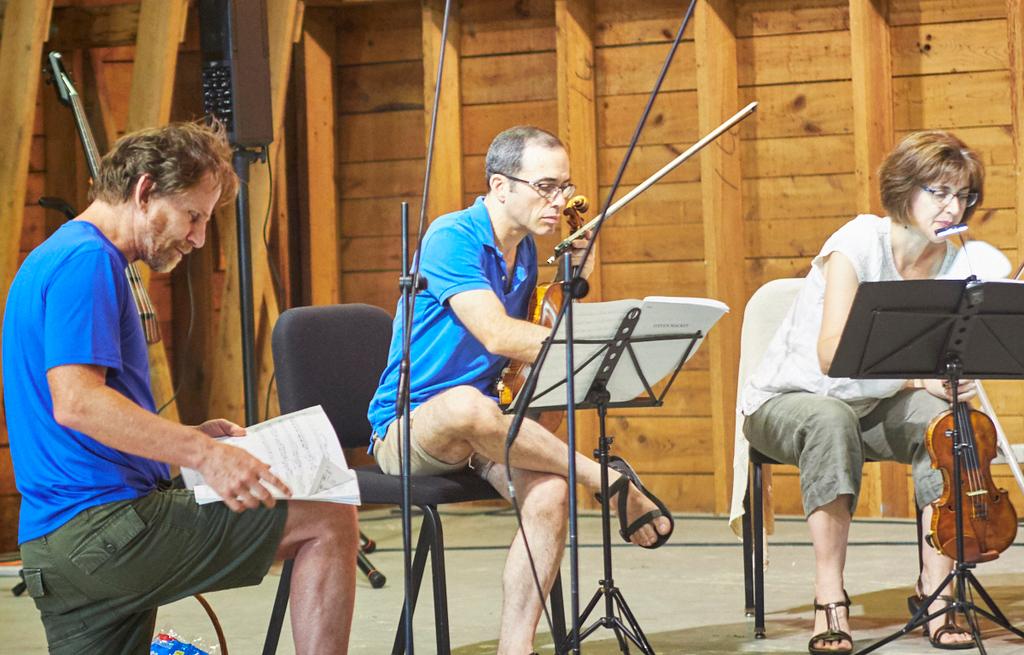 Steven Mackey, Mark Steinberg, Serena Canin, in rehearsal (2018). Photo by Peter Felsenthal.