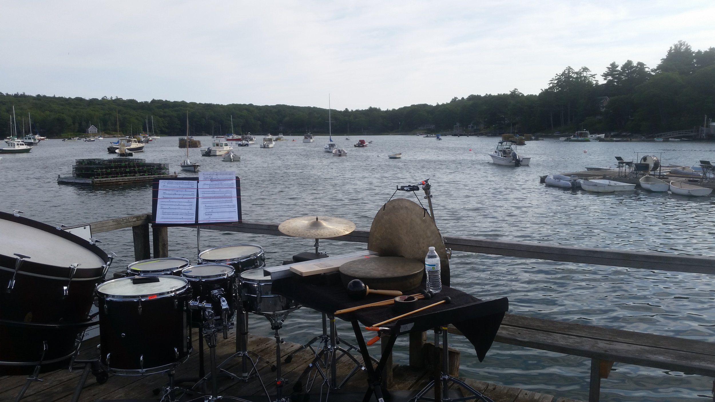 Percussion at Round Pond for a performance of Xenakis' Persephassa (2017). Photo by Peter Felsenthal.