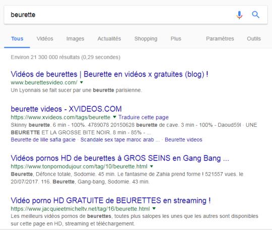 """Premiers résultats lorsqu'on cherche """"beurette"""" sur Google"""