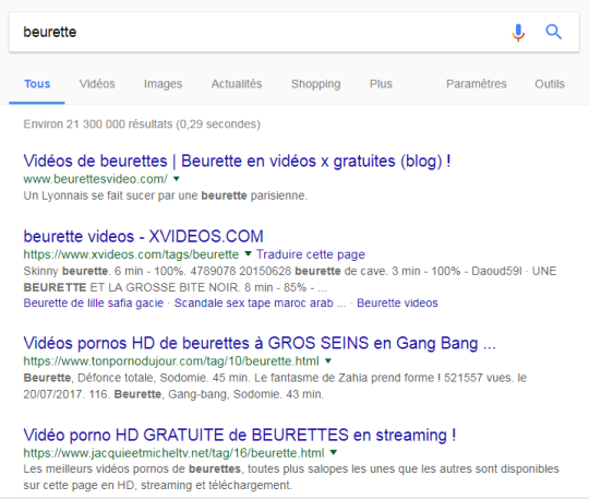 """First results when we look out for """"beurette"""" on Google"""