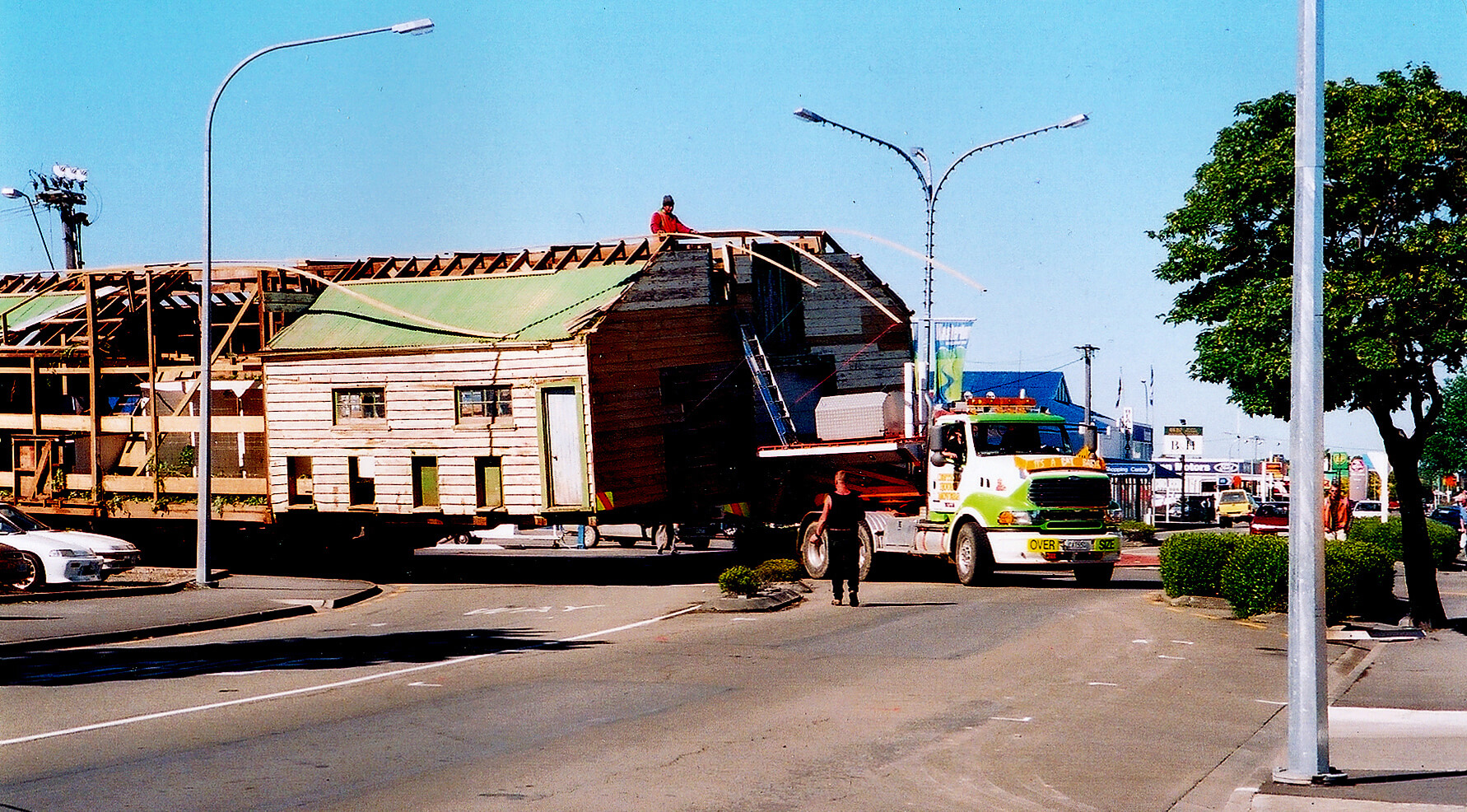 The historic Glendonald wool shed in Masterton, being trucked to The Wool Shed complex in 2003.