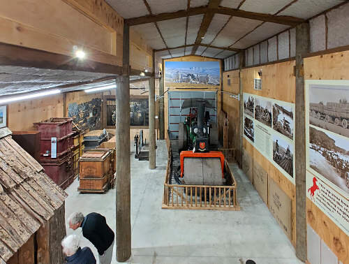 The Stewart-Weston Gallery, looking towards the traction engine exhibition, bushman's hut and historic wool presses.