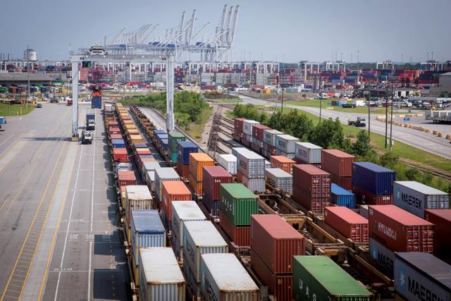 For the fiscal year through April, the Port of Savannah has achieved a 21 percent increase in intermodal cargo, handling 776,600 twenty-foot equivalent container units by rail since July 2018. Find print quality images s    here   . (Georgia Ports Authority)