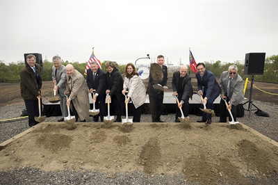 From left, GPA Board Member Charles Tarbutton, Savannah Mayor Eddie Deloach, Maritime Administrator Rear Adm. Mark H. Buzby, GPA Board Chairman Jimmy Allgood, Tracey Mason, Teresa Waters, GPA Executive Director Griff Lynch, Norfolk Southern VP of Business Development and Real Estate Rob Martinez, CSX VP of Intermodal Dean Piacente, and Garden City Mayor Don Bethune break ground on the Mason Mega Rail terminal, Tuesday, March 27, 2018, at the Port of Savannah. The expansion project will add 97,000 feet of track at Garden City Terminal.