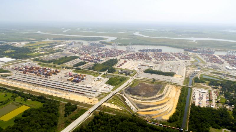 Construction on the Port of Savannah's Mason Mega Rail project is 40 percent complete. The expanded terminal will double rail lift capacity at Garden City Terminal to 1 million containers per year. Find print quality images    here   . (Georgia Ports Authority)