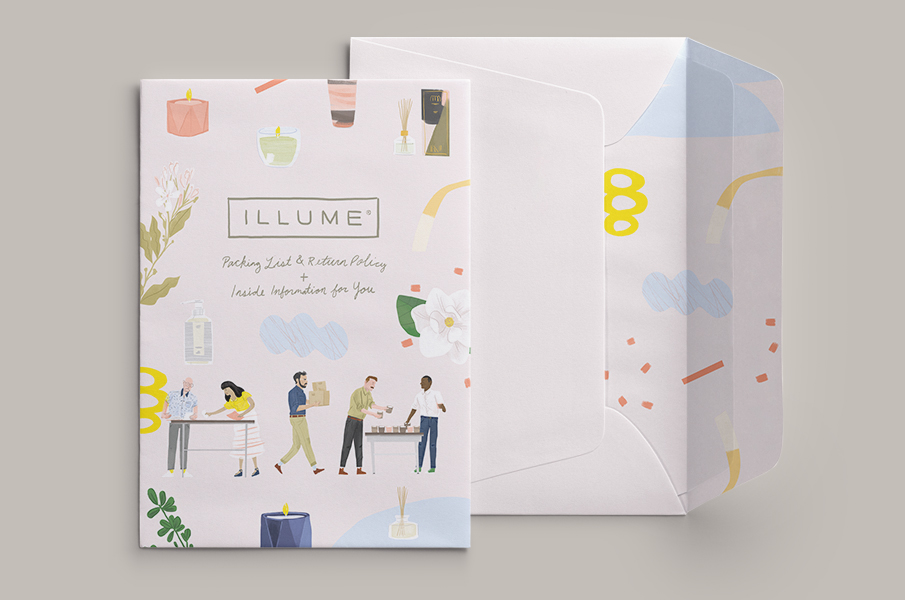 Illume unboxing - A series of illustrations highlighting the Illume design process.