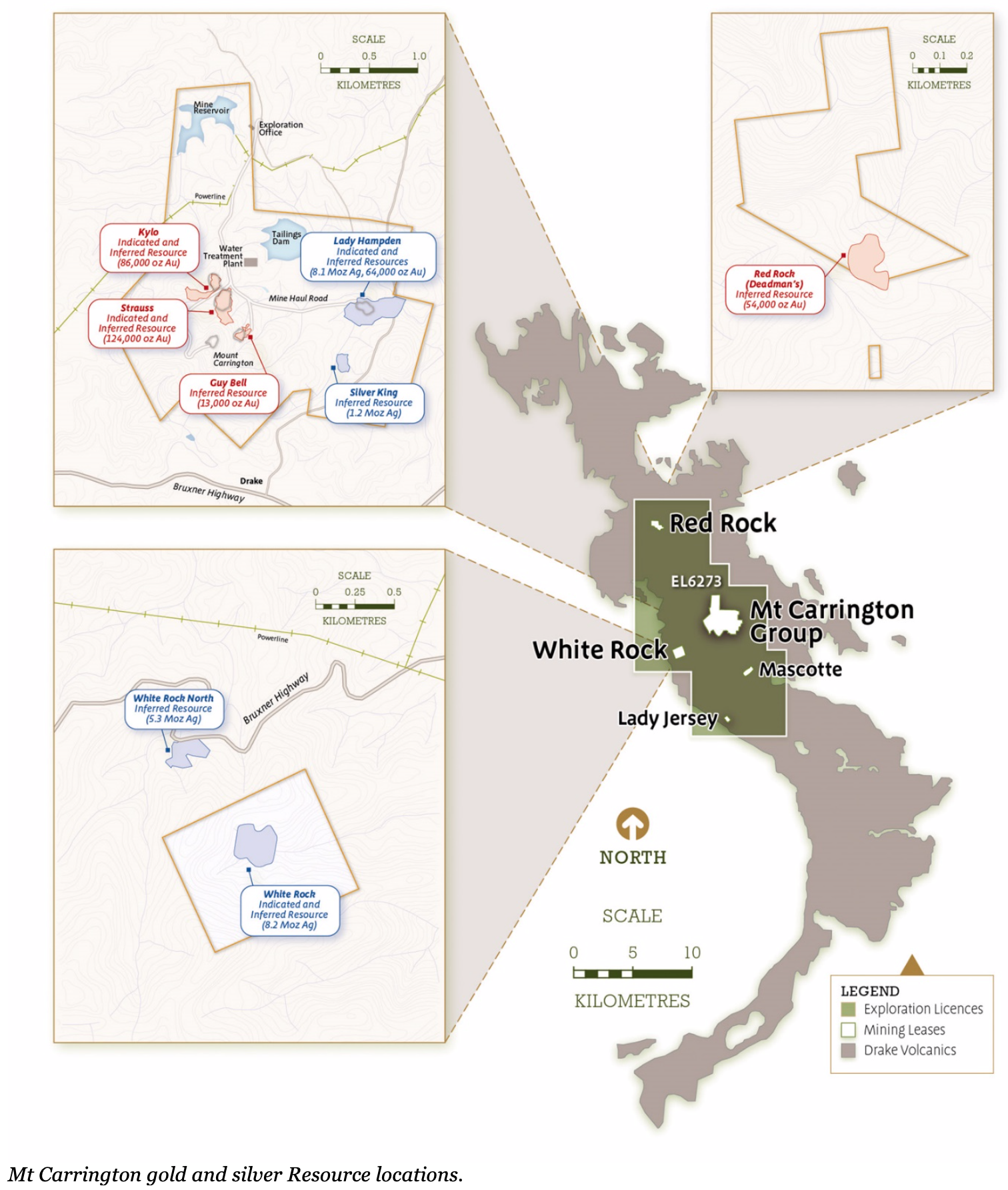Mt Carrington gold and silver Resource locations..png