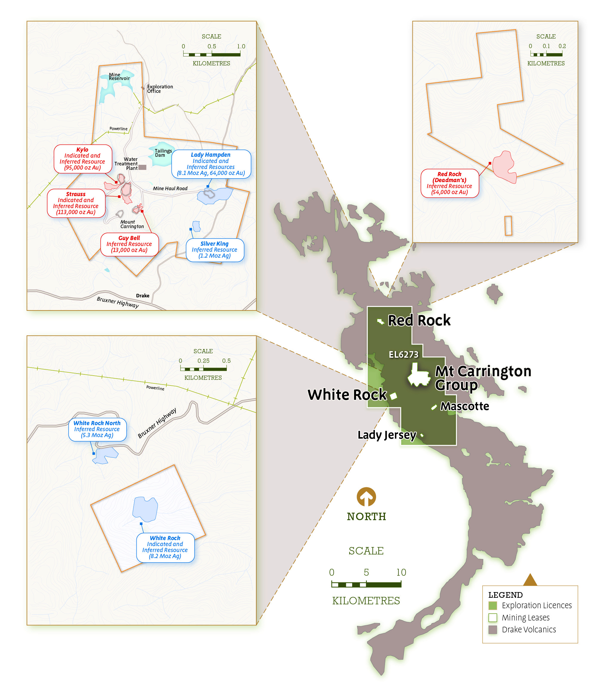 Figure 1  Location plan of Mt Carrington – Mining Licences, the surrounding Exploration Licence and the various Mineral Resources locations.