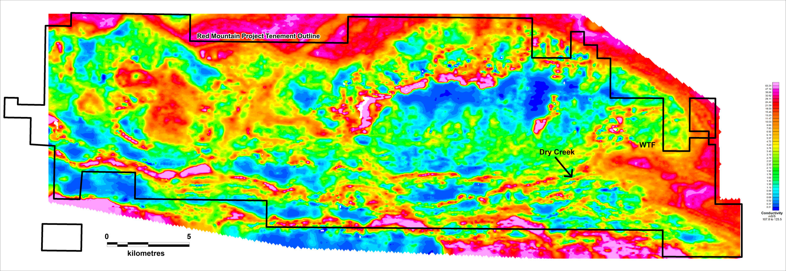 Figure 8:  Conductivity depth slice of the 1D inversion model of the SkyTEM electromagnetics data at 120m below surface. The survey highlights conductivity features associated with VMS mineralisation at the Dry Creek and West Tundra Flats (WTF) deposits.