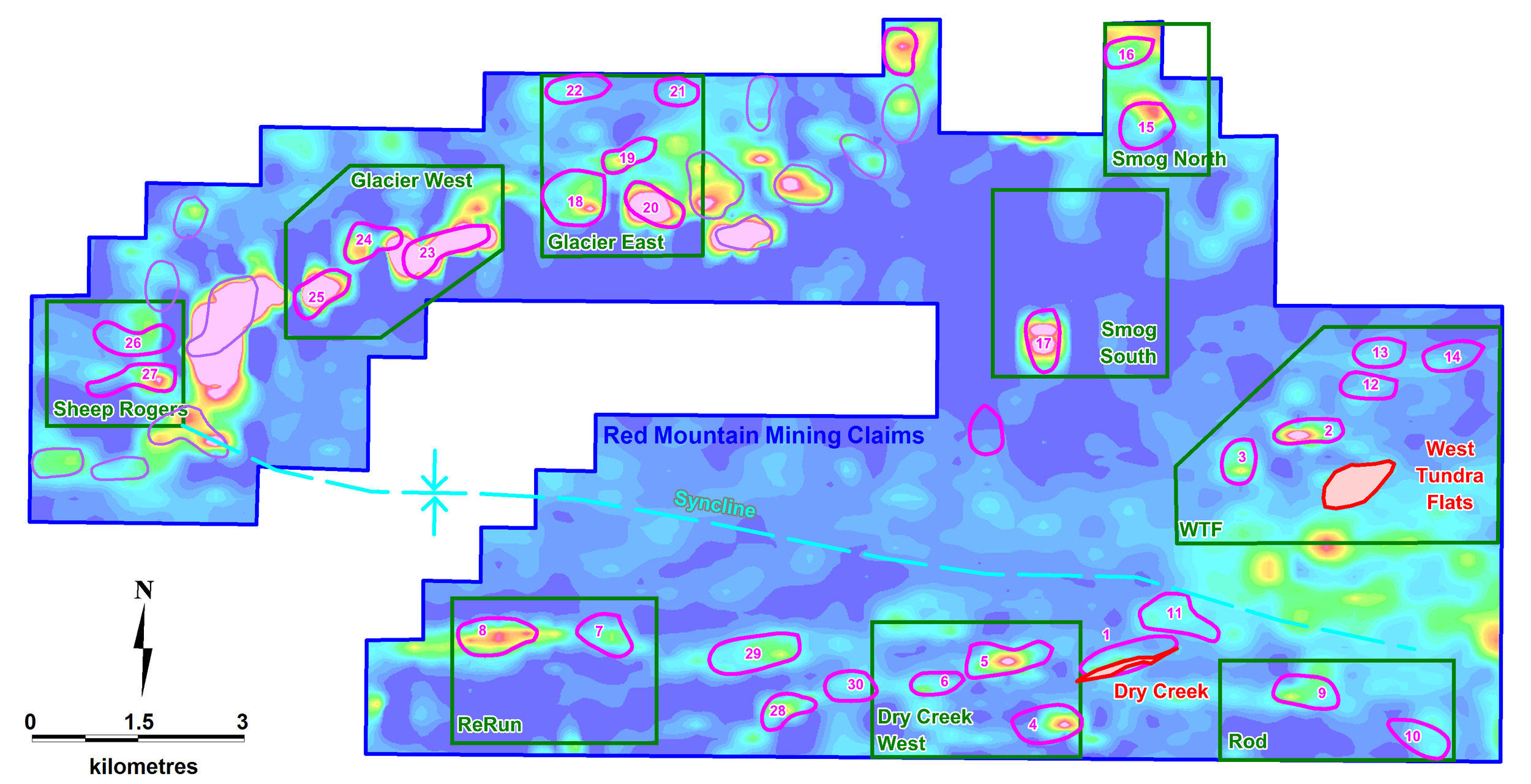 Figure 6    Red Mountain high priority conductors (pink) on a conductivity depth slice at 40m below surface from the 1D inversion of airborne electromagnetics. Locations for the Dry Creek and West Tundra Flats VMS deposits, and target areas (ReRun, Dry Creek West, Rod, WTF, Smog South, Smog North, Glacier East, Glacier West and Sheep Rogers) are defined by geochemical alteration (in green boxes), and the corridor of conductors along the northeast trend from Dry Creek to West Tundra Flats (dashed yellow line).