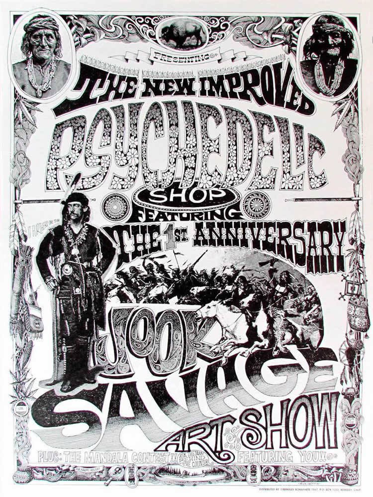 """""""Jook Savage Art Show"""" Psychedelic Shop, Haight-Ashbury 1967, Rick Griffin's first psychedelic poster"""