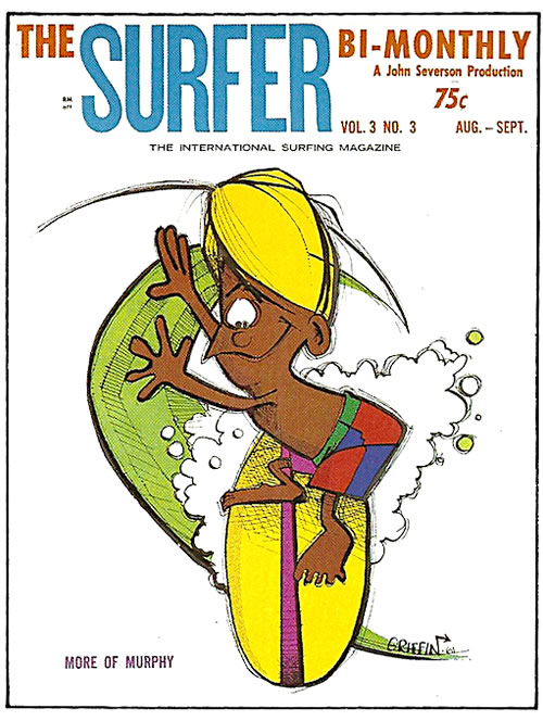 """Griffin's """"Murphy"""" character makes the cover of  Surfer  1962"""