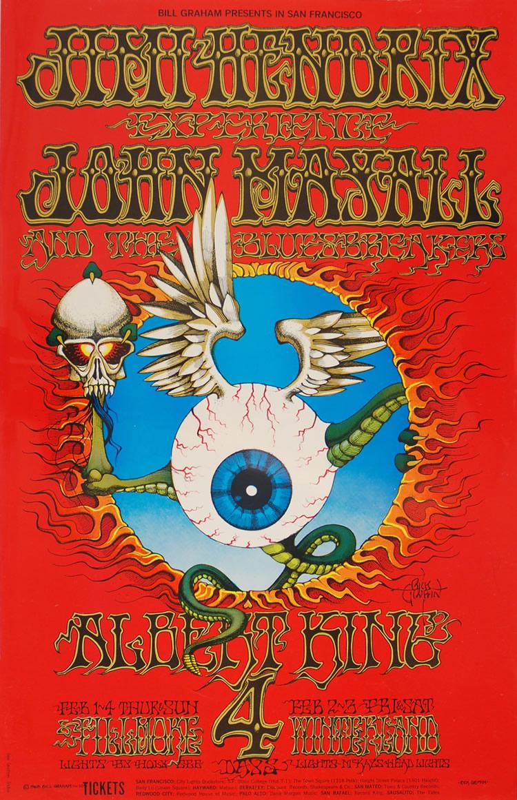 BG-105, Jimi Hendrix, John Mayall & Albert King concert poster by Rick Griffin 1968