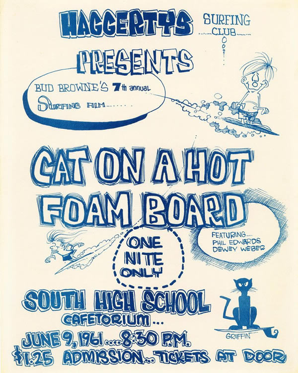 """""""Cat on a Hot Foam Board"""" film by Bud Browne presented by Haggerty's Surfing Club (1961)"""