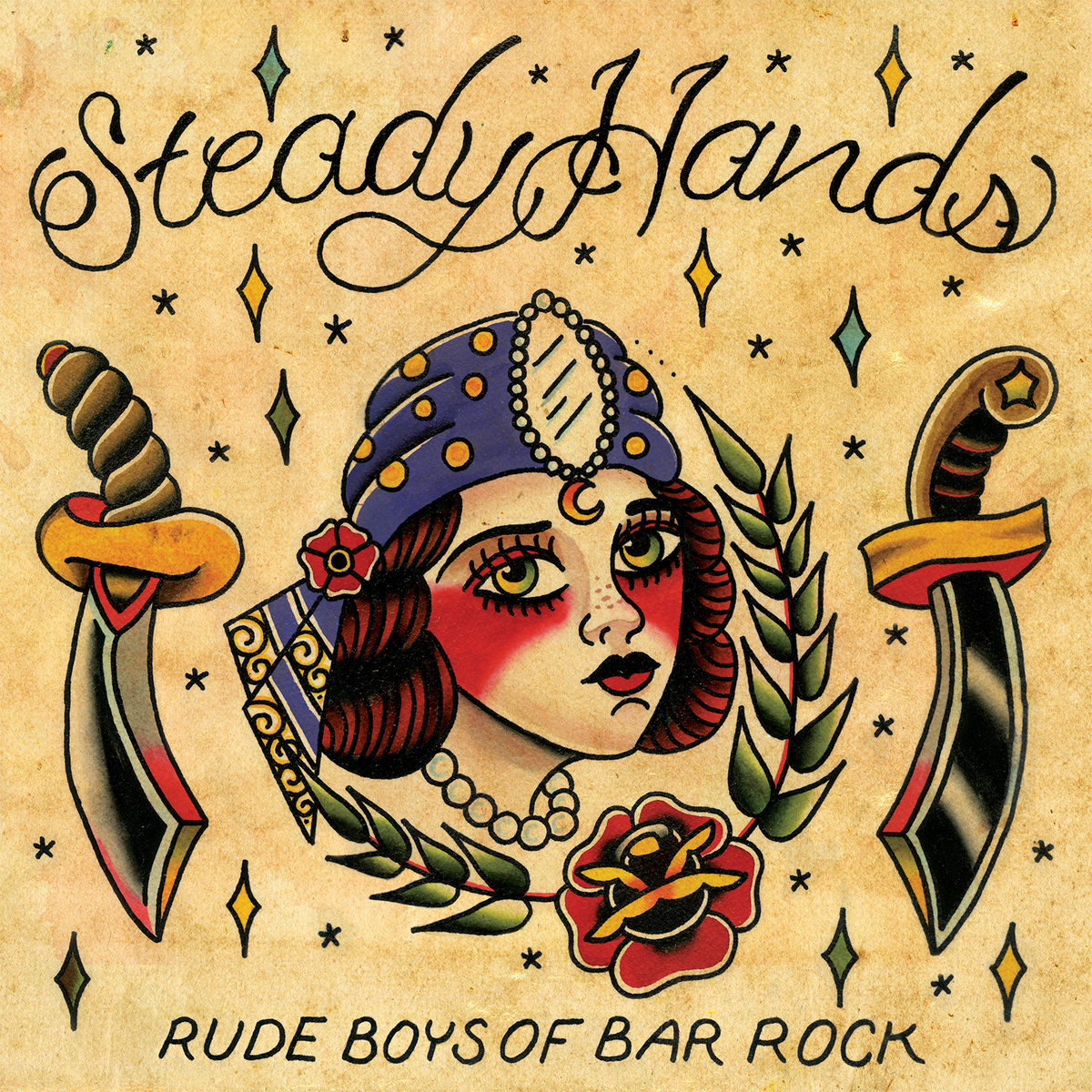 Steady Hands - Rude Boys Of Bar Rock 2xLP Vinyl Layout & Design Illustration by Brandon Swanson - instagram.com/brandonswansontattoo