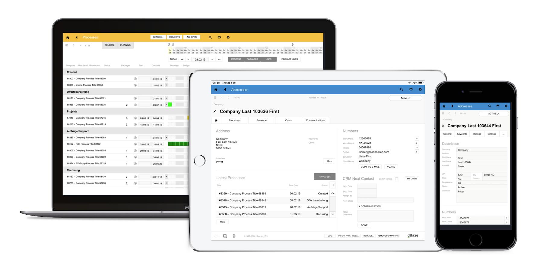 Die Daten werden in der Cloud gehostet und sind per Mac/Win Desktop-Clients, iOS Client sowie webbasiert zugänglich.