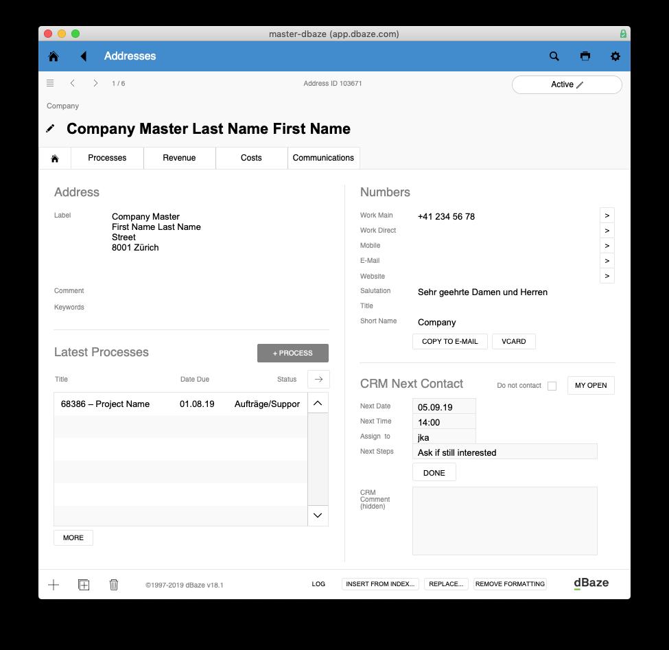 Detail-Ansicht Adresse. In den Karteireitern Prozesse, Erträge, Kosten und Kommunikation siehst du verknüpfte Einträge und kannst du neue erstellen.