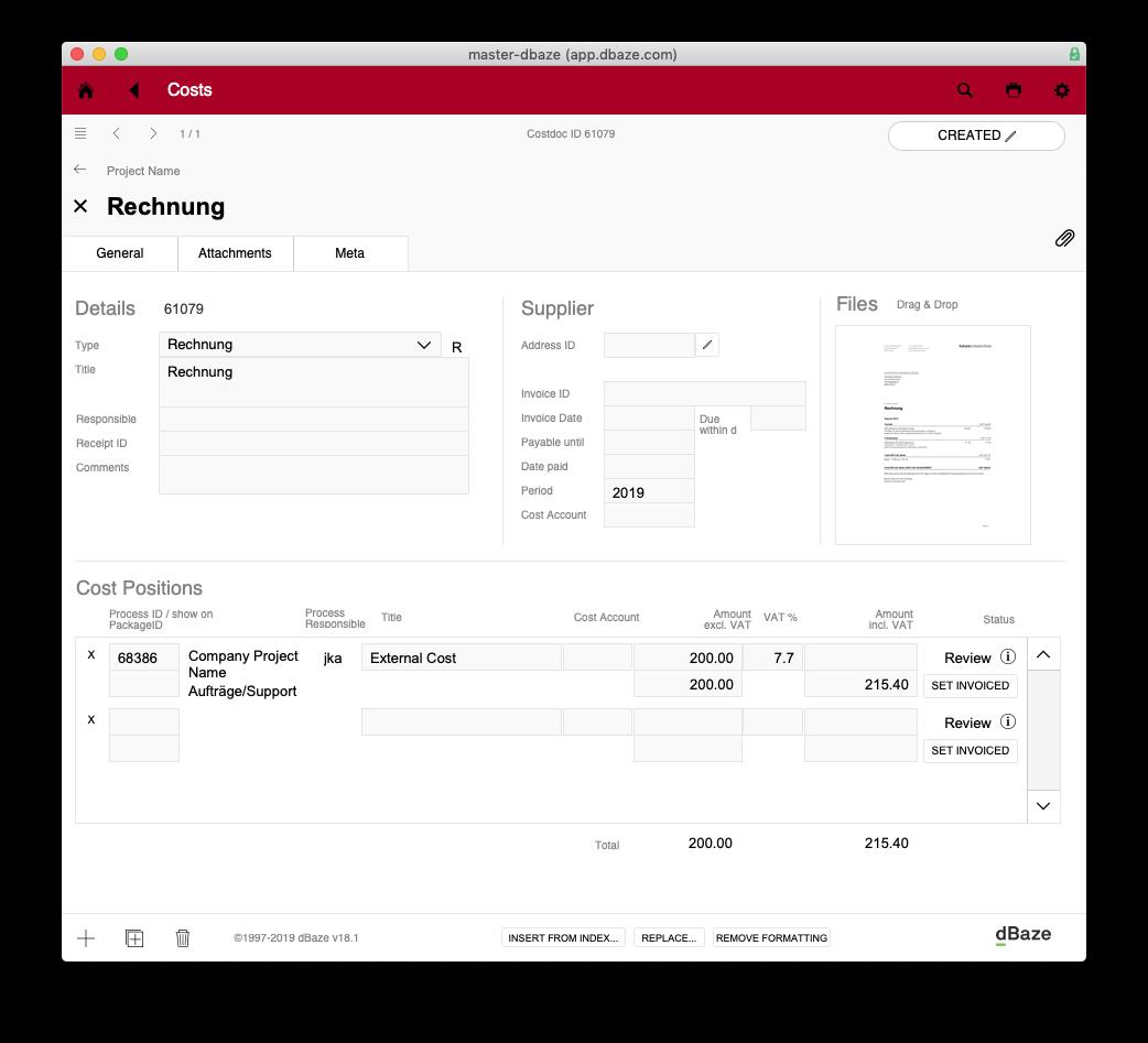Eingabe-Ansicht Lieferantendokument. In den Karteireitern Attachments und Meta kannst du weitere Stammdaten eingeben.