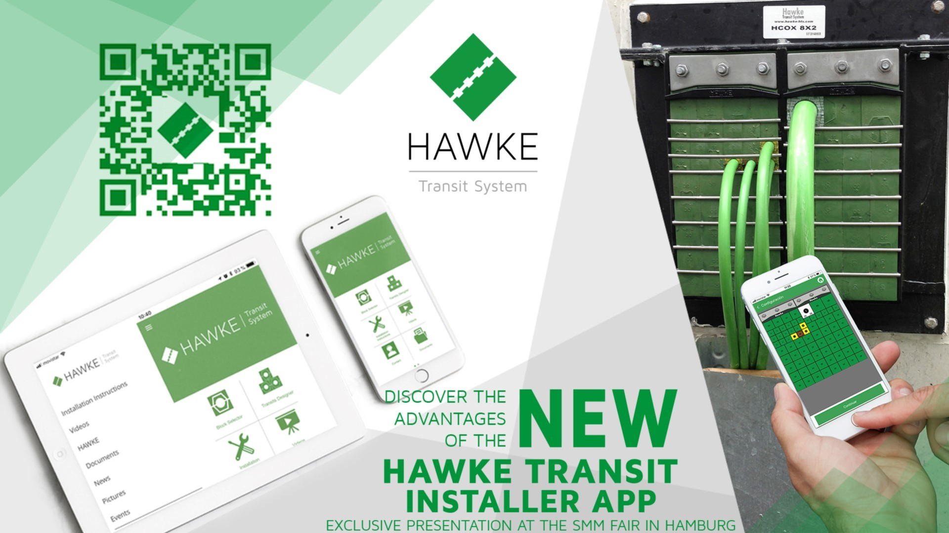 Hawke Installers App allows the installer to calculate automatically the best configuration for a transit, it exports the material list, drawing with colour coding and other information. Installing your transit much easier.