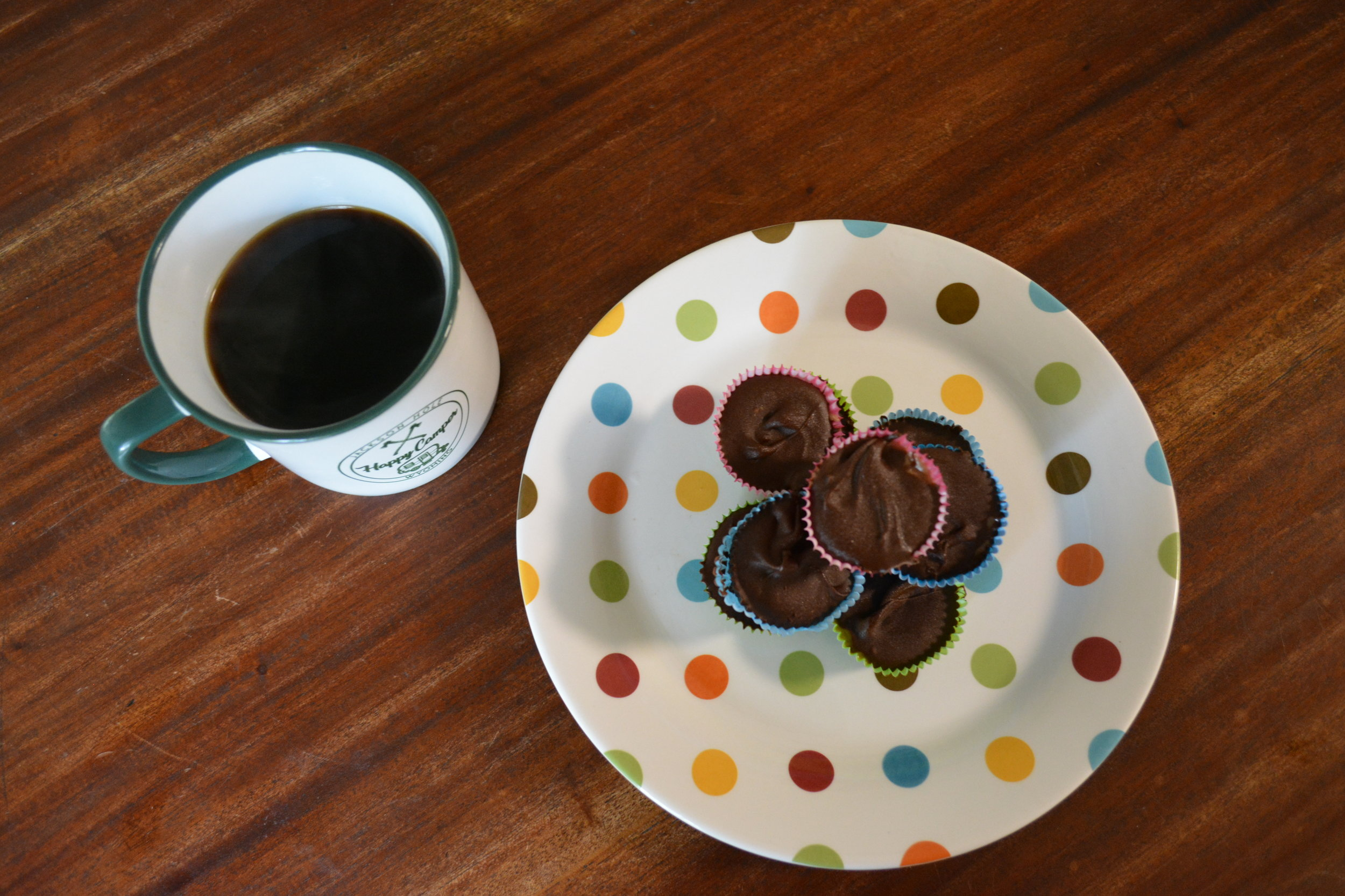 Chocolate Pecan Butter Cups and Coffee