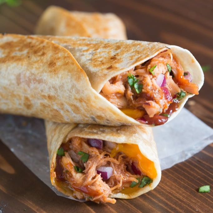 Backcountry BBQ chicken wrap