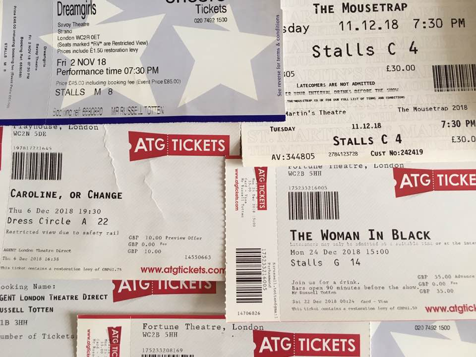 The start of my West End theatre ticket collection.